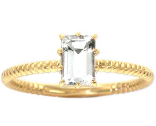14K Yellow Gold Octagon Gemstone Solitaire Stackable Ring-White Topaz, size8