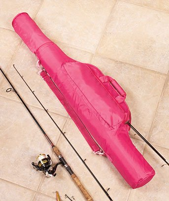Pink fishing pole gear carrying case bag expandable from for Pink fishing rods