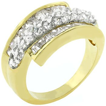 Two Tone 14k Gold and White Gold Rhodium Bonded with Pave and Channel Handset Baguettes and Round Cz in an Anniversary Style, Goldtone Women's Ring (5)