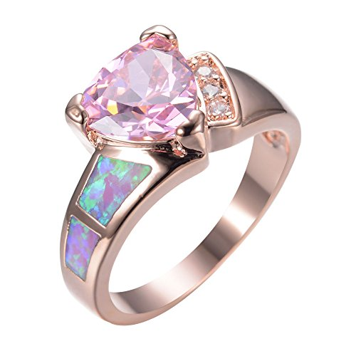 Lovely Triangle Pink Opal 10kt Rose Gold Filled - Size 7 - Wedding Ring Engagement Ring Style