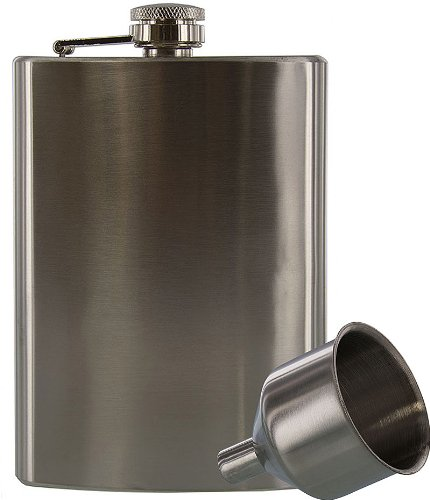 SE 8 oz. Stainless Steel Hip Flask and Funnel