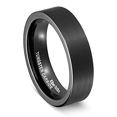 Sale! King Will 6mm Tungsten Ring Flat Top Black Brushed Finish Wedding Band
