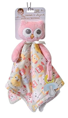 Blankets & Beyond Pink Owl Security Blanket with Pacifier Holder - 1