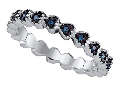 Sterling silver 0.23 Carat (ctw) Diamond Micro-Pave Ladies Blue Diamond Ring