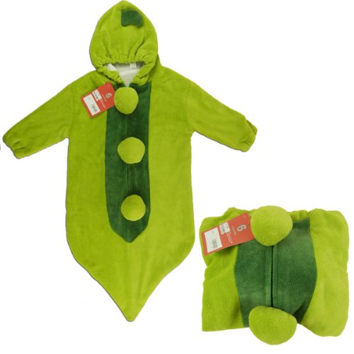 Foxnovo Cute Green Pea Shaped Three-Layer Soft Fleece Baby Infant Toddler Sleeping Bag Sleep Sack Photography Prop - Size L front-867162