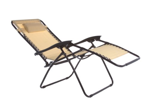 Zero Gravity Oversize Reclining Pool Patio Outdoor Lounge Chair (Beige)