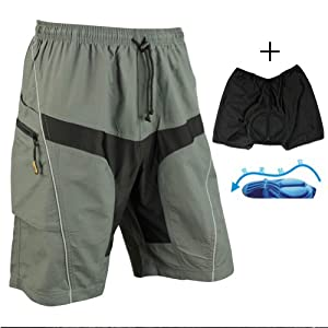 Santic Men Padded Coolmax Loose Fit Cycling Casual Short Gray With Removable Cushion by SDK