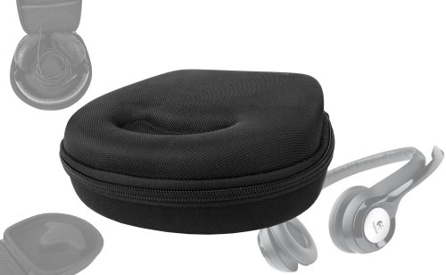 Duragadget Hard Eva Small Storage Case For Headphones / Earbuds For Logitech Usb Headset H390, Dialog-220, On.Earz Swagg M Pokora Und Behringer Hpm1000, Ue 6000, Ue 9000 - With Netted Compartment (Black)