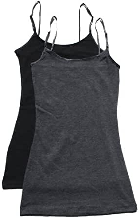 Zenana Women's Cami Sets (2 & 4 Packs),Small,2 Pack: Charcoal/Black