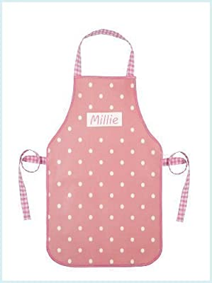 Shabby Vintage Chic Pink Polka Dot Personalised Child's Oilcloth Apron (for 6-13 year olds)