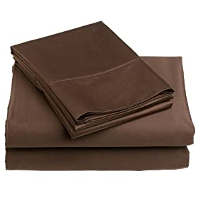 Renaissance Collection 600-Thread-Count Cotton Sateen Queen Sheet Set, Chocolate