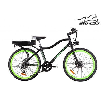Big Cat Electric Bikes Ghost Rider Bicycle, Green Wheels