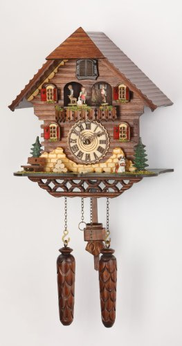 Quartz Cuckoo Clock Black forest house with music, turning dancers, incl. batteries TU 469 QMT HZZG