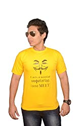 College Jugaad Yellow Printed Cotton T-shirt for Men