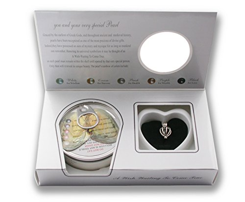 Heart Rhodium Plated Necklace Pendant Locket Freshwater Cultured Pearl in Oyster Kit Set With Stainless Steel Chain 18