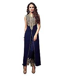 Mahavir Fashion Blue Georgette Dress Material