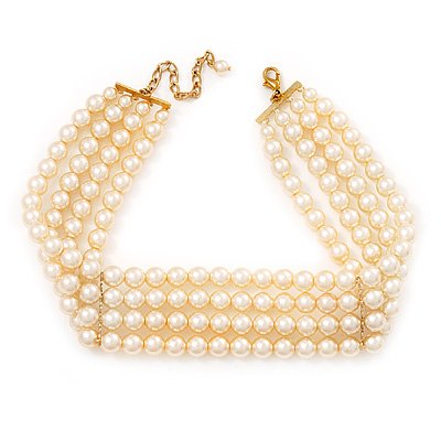 4-Strand Lustrous Pearl Glass Bead Choker Necklace (Gold Tone & Ivory)