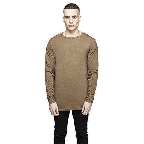 Camicia In Cotone Slim Girocollo T Simple Men 's Nel Lungo Tratto Di Colore Uniforme T - Shirt (Caffé Nero)