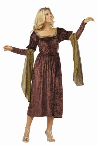Renaissance Queen Costume for Women BROWN (necklace and shoes not included)