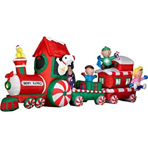 Peanuts snoopy express train 13 39 wide for Outdoor christmas train decoration