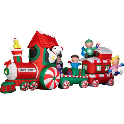PEANUTS Snoopy Express Train 13' Wide Animated Christmas Airblown Inflatable Gemmy