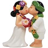 Westland Giftware Magnetic Ceramic Salt and Pepper Shaker Set, 4-Inch, Mwah Hawaiin Wedding Couple, Set of 2