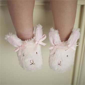 Mud Pie Baby-girls Infant Plush Bunny Slippers, Pink, 12-18 Months