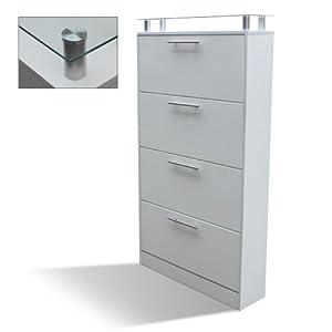 schuhschrank schuhregal f r bis zu 32 paar schuhe weiss k che haushalt. Black Bedroom Furniture Sets. Home Design Ideas