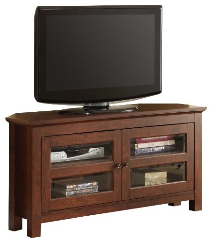 Walker Edison 44-Inch Corner Wood TV Stand Console, Traditional Brown