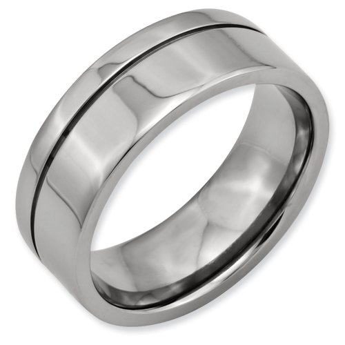 Titanium Grooved 8mm Brushed and Polished Band Ring Size 4.25 Real Goldia Designer Perfect Jewelry Gift for Christmas