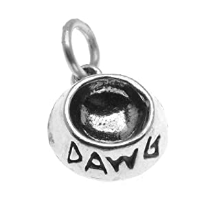 Sterling Silver, Dog Pet Bowl Charm 'Dawg' 11.5mm, 1 Piece, Silver