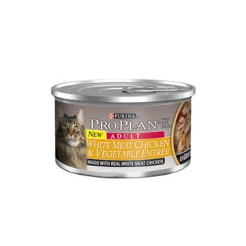 Pro Plan Adult White Meat Chicken & Vegetable Entree In Gravy Canned Cat Food 24 - 3Oz Cans