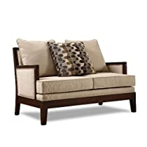 Big Sale Homelegance 9918FA-1 Dalton Collection Love Seat, Beige Chenille-like Corded Microfiber with Show-wood Frame