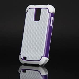 ATC For Samsung Galaxy S2 II T-Mobile T989 Android OS Hercules 4G White&Purple Silicone / Rubber Case --Best Bumper-- With Touch Stylus