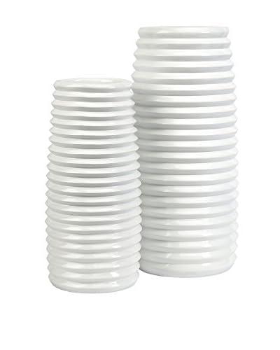 Set of 2 Daley Ribbed Vases, White
