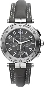 Michel Herbelin Newport Men's Quartz Watch with Grey Dial Chronograph Display and Grey Leather Strap 36657/22GR