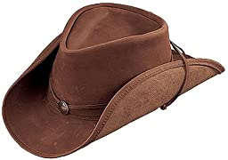 Henschel Walker Lightweight Leather Shapeable Brim & Conche Band Hat, Brown, Small