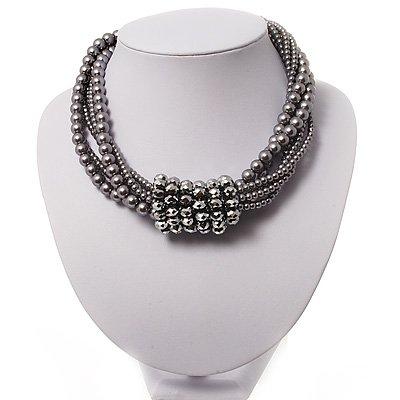 6-Row Light Grey Pearl Style Chunky Choker Necklace
