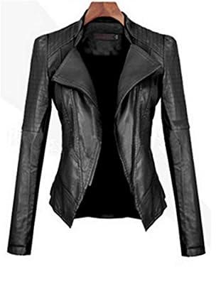 GIRL - Veste moto femme en cuir PU lavé