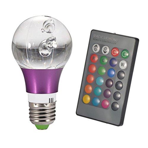Mudder E27 Crystal RGB 3W LED Lampe Licht 16 Farbwechsel-mit IR-Fernbedienung