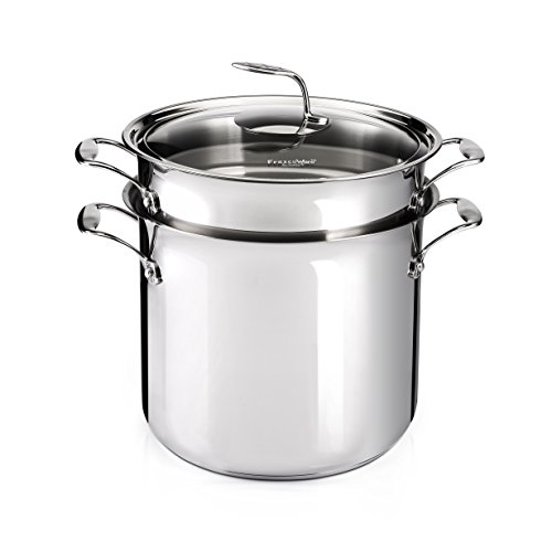 Scotto Pasta Pot Stainless Steel Cookware with Leaf Handle, 16 quart, Silver