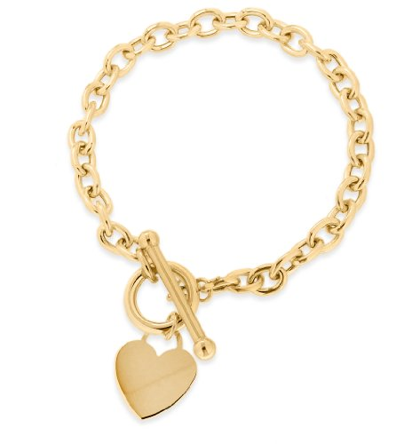 9ct Yellow Gold Heart Tag T-Bar Bracelet 18cm/7