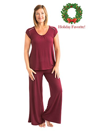 Kindred Bravely The Amelia Ultra Soft Maternity & Nursing Pajamas - Pants Set (Cabernet, Large)