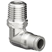Legris 3889 Stainless Steel 316 Push-to-Connect Fitting, 90 Degree Elbow, Tube OD x NPT Male, Inch