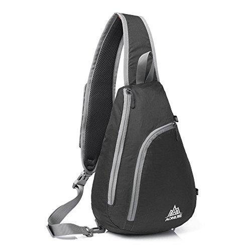Zaino della spalla, GSTEK impermeabile Sling petto Crossbody zaino per gli sport outdoor, la scuola, Viaggi - Nero