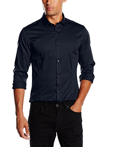 JACK & JONES PREMIUM - Jjprparma Shirt L/s Noos, Camicia da uomo, blu (blau  (navy blazer/super slim)), M