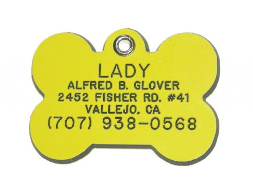 Bone Shaped Dog Cat Pet ID Tag Custom Engraved