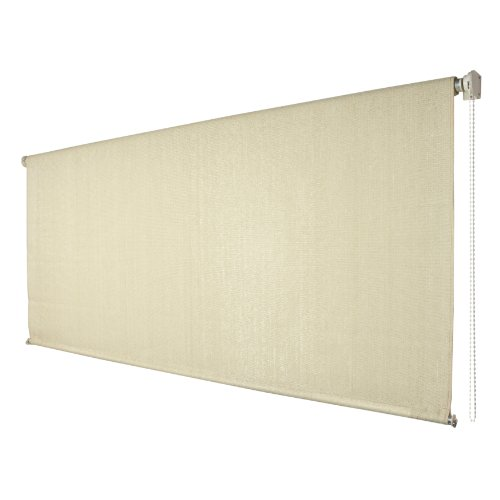 Coolaroo exterior cordless roller shade 6ft x 6ft sesame the lawn garden Cordless exterior sun shades