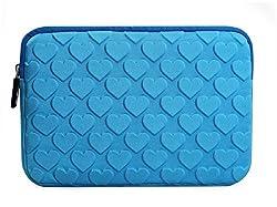 KolorFish iHeart Cute Designer Funky 3D Design Neoprene Sleeve with Zip Case Zipper Sleeve Cover for Apple iPad Mini, Mini 2, Mini 3, Mini 4 Blue