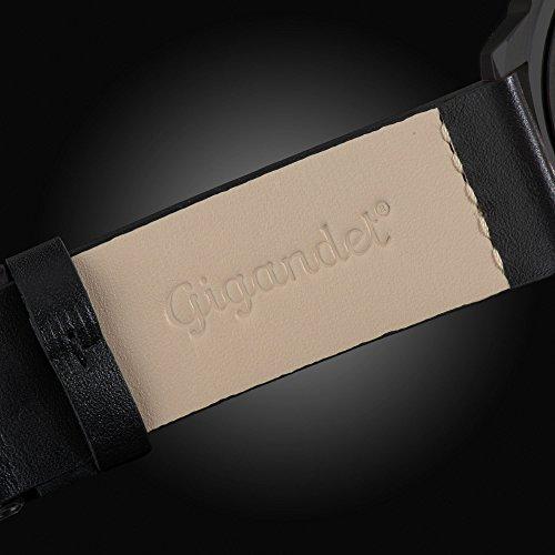 Gigandet Red Baron II Herren Automatik Fliegeruhr - Armbanduhr mit analoger Anzeige - 100m/10atm wasserdicht mit Datumsanzeige, schwarzem Lederarmband und schwarzem Zifferblatt - G9-004 9